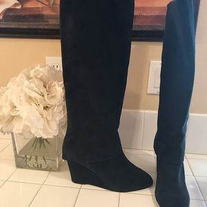 Steven blue suede wedge boots
